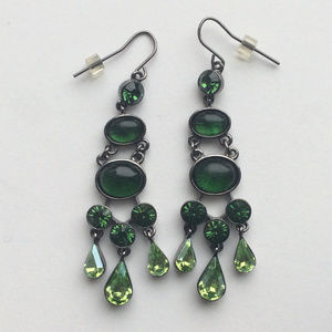 Green & Hematite Drop Earrings